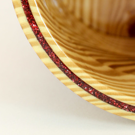 Custom Sparkle Inlay set into the rim. Large Wood Yarn Bowl; Heckathorn Turned Wood.